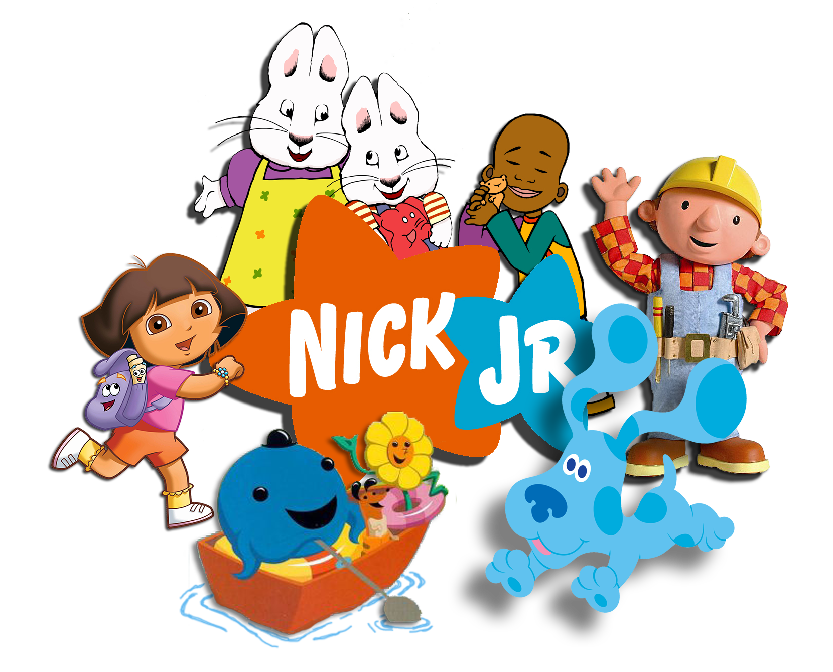 nick jr logo with Max and Ruby, Little Bill, Bob the Builder, Dora the Explorer