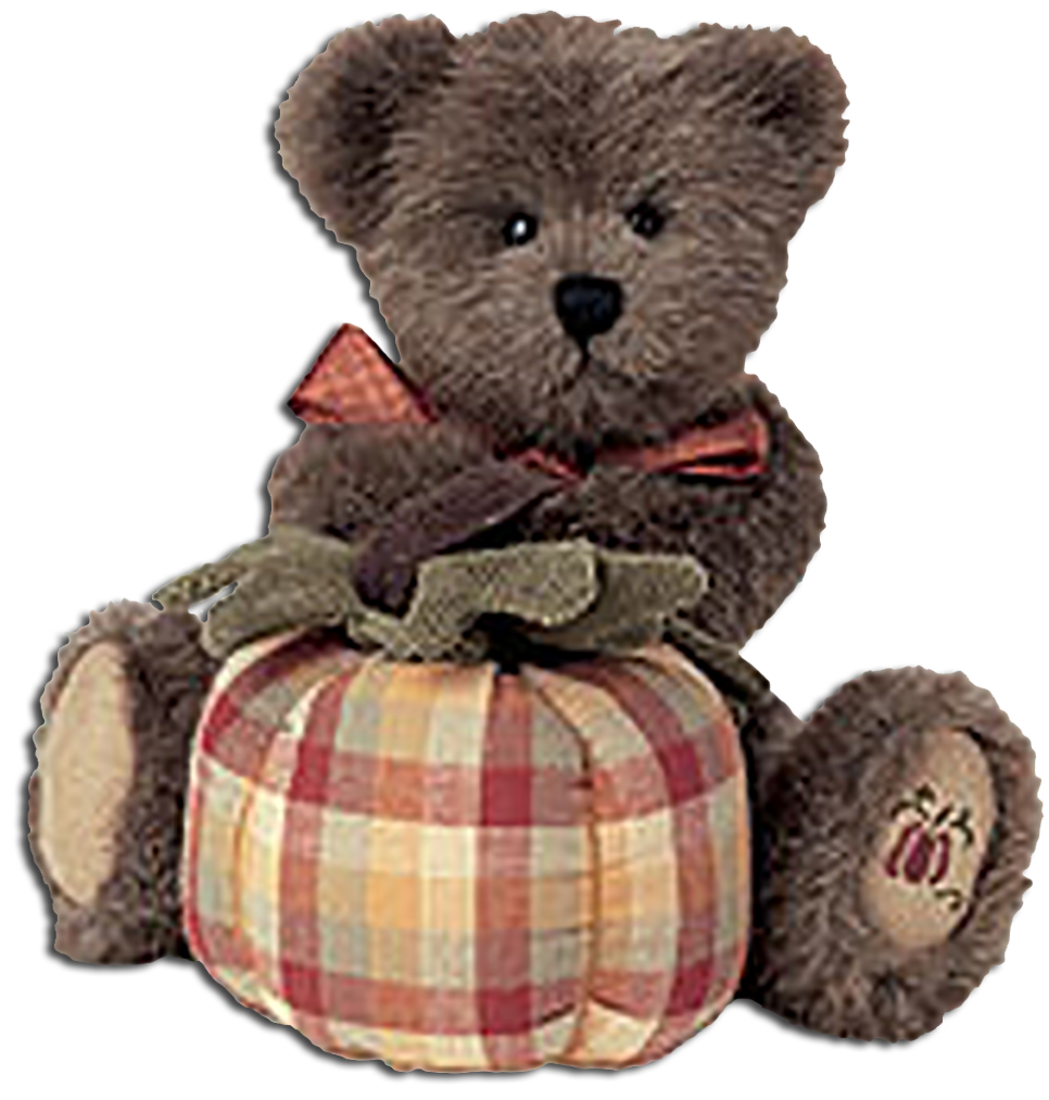 Adorable Boyds Beras Collection Thanksgiving decorations. Choose from Boyds figurines with thanksgiving pumpkins or soft plush teddy bears holding plaid pumpkins.