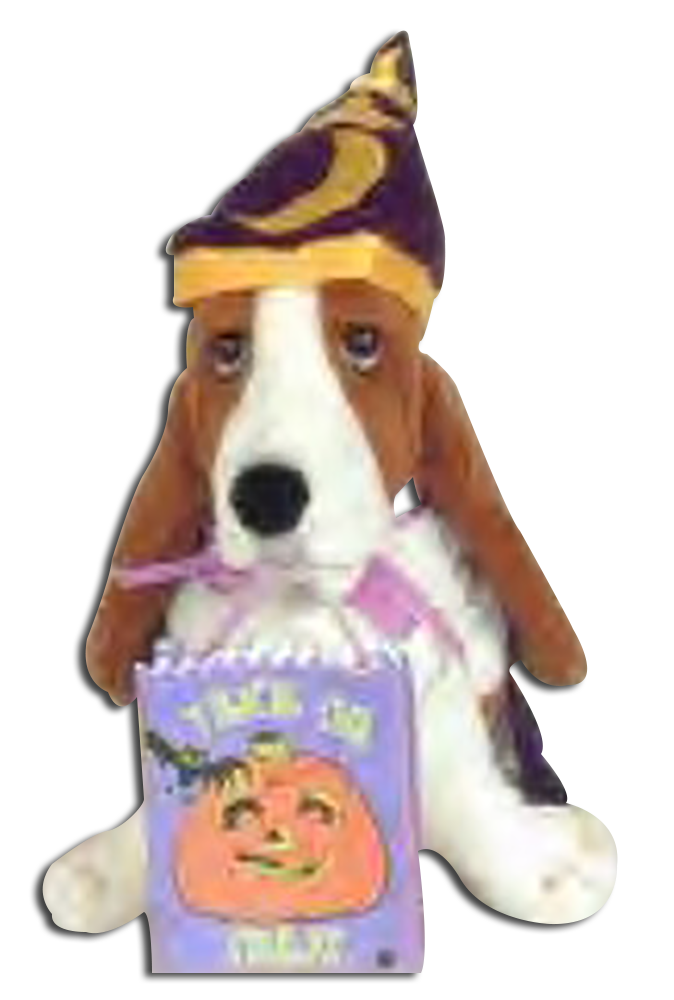 The adorable Hush Puppy Basset Hound is ready celebrate Halloween as these wizards, witches and pumpkins. Halloween stuffed animals as the Hush Puppy shoe company tradition.