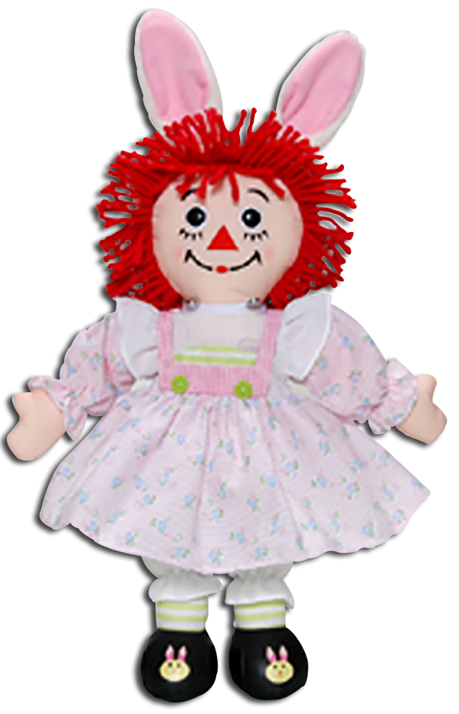 Assembled here is Raggedy Ann dressed in her Easter best!  Raggedy Ann looks adorable as usual in bunny ears and dressed up for Easter!