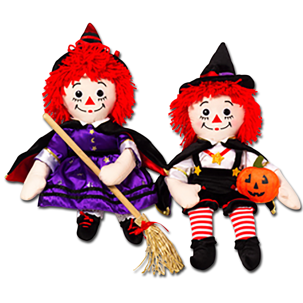 Raggedy Ann and Andy are all dressed up for Halloween! These are all special editions come see them as Pirates, Pumpkins, Vampires and MORE.