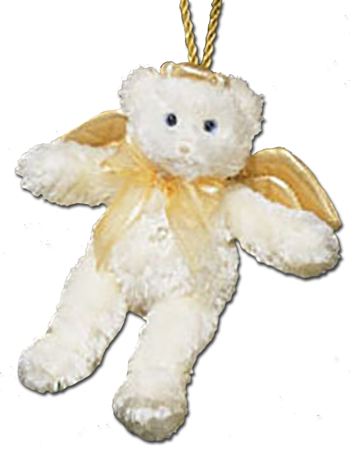 Adorable Gund plush blue eyed angel teddy bears with golden halos and wings.