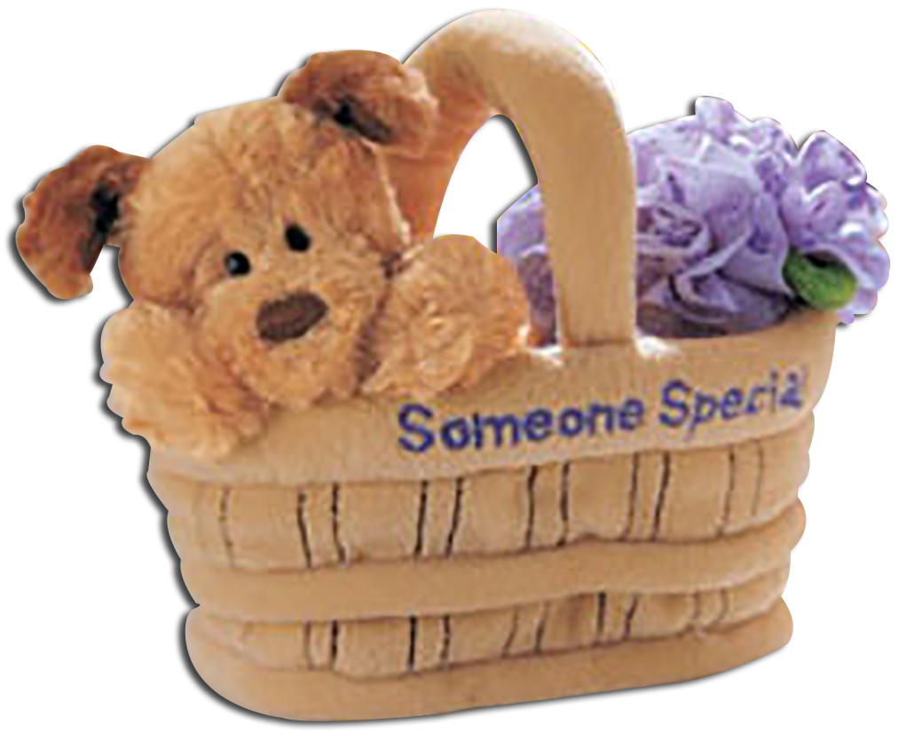 Gund's adorable plush puppy and teddy bears in baskets just for Mom and that someone special.