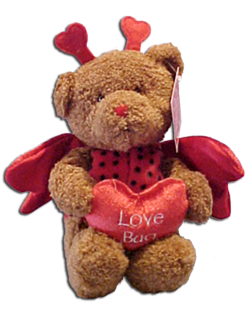 Adorable insects and teddy bears dressed as insects are soft and cuddly for Valentines Day