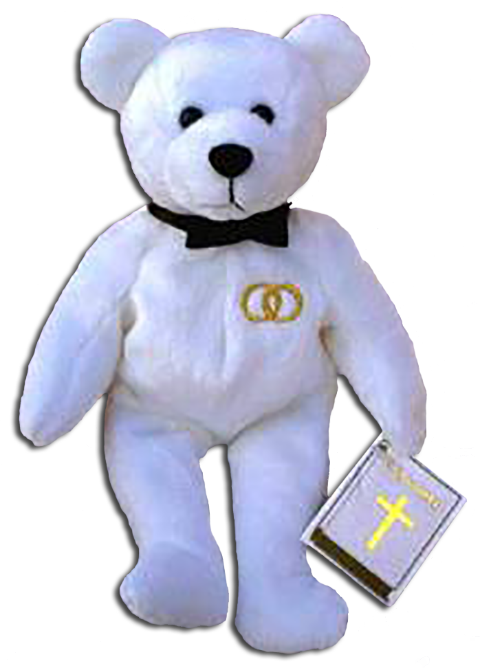 A Christian gift to celebrate the Wedding Day. This adorable groom and bride teddy bears were made by Holy Bears and makes the perfect Wedding gift!