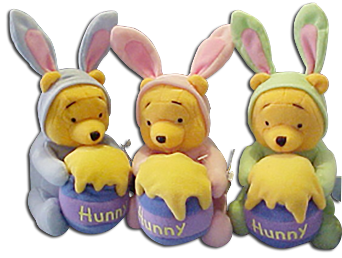 All dressed up for Easter and perfect for any Easter Basket are all our cartoon characters, choose from Scooby Doo, Bugs Bunny Winnie the Pooh, Dora the Explorer and Raggedy Ann.
