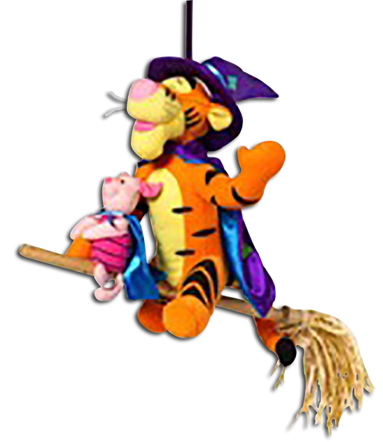 Halloween has come to the Hundred Acre Woods. Winnie the Pooh and his Friends are dressed in costume as Puppets and Plush Stuffed Toys.
