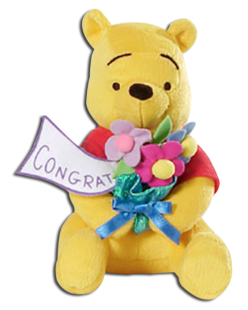 Winnie the Pooh is ready to show someone how much you think of them on their special day! Congratulate them with Pooh and his bouquet of flowers!