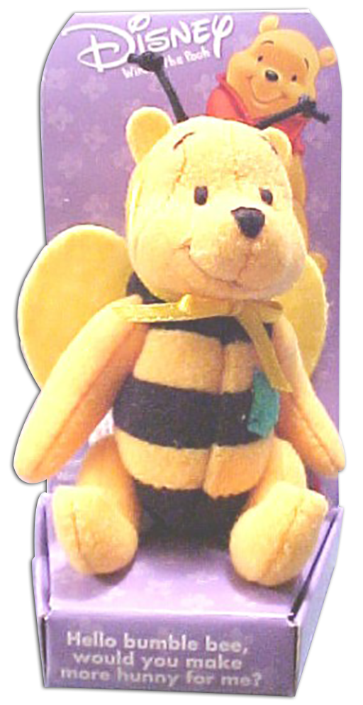 Winnie the Pooh is a jointed stuffed bear and dressed up as ladybugs, grasshoppers, butterflies and bumble bees.